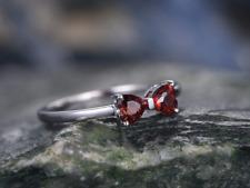 14k white gold over garnet handmade Unique Bow knot-Double Heart promise ring