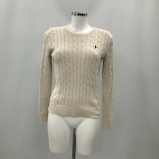 Polo Ralph Lauren Jumper Size M Cream Cable Knit Long Sleeved Casual 253053