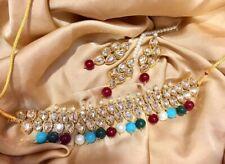 UK SELLER Indian Gold tone Multi Beads Diamante Choker Earrings Tika  Set