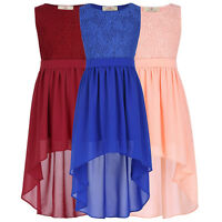 Girls Kids High-Low Lace Chiffon Evening Bridesmaid Party Dresses Age 2-16 Yrs