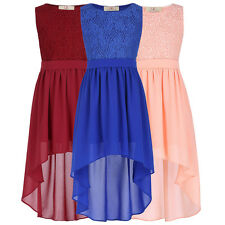 Girls Kids High-Low Lace Chiffon Evening Bridesmaid Party Prom Dresses Age 2-16Y