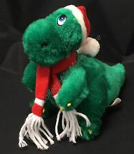 Jinglesaurus Christmas Dinosaur Plush Stuffed Green Red Striped Scarf w/ Hat
