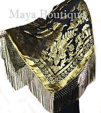 Antique Gold & Black Burnout Velvet Piano Shawl Square Fringed Maya Matazaro