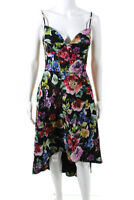 Aidan Aidan Mattox Womens Multi Floral High Low Dress Black Size 10 12532309