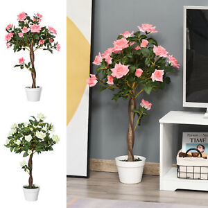 Artificial Rose Plant Realistic Fake Tree Potted Home Office 90cm