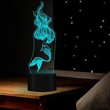3D Little Mermaid Night Light 7 Color Change LED Desk Lamp Touch Room Decor Gift