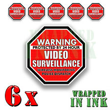 Warning 24 hour Video Surveillance Security Stickers RED OCT. Decal 6 PACK