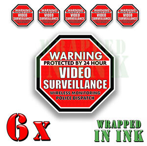 """Warning 24 hour Video Surveillance Security Stickers RED OCT. Decal 6 PACK 2"""""""