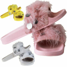 UK Ladies Womens Flats Fur Fluffy Sliders Slippers Girls Sandals Flip Flop Shoes