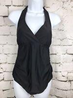 Beach Bump Motherhood Maternity Swimsuit Ruched Black Halter Tie 1 Piece Size S