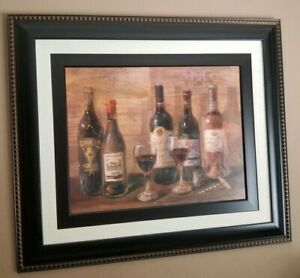 HUGE Wine Italian Tuscan Themed Hanging Wall Art Picture Home Decor Textured