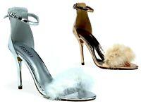 Women Open Toe High Heel Stiletto Pom Pom Pin Buckle New Ladies Sandals UK Size