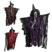 Scary Skeleton Halloween Hanging Decoration Haunted House Props Sound Ornament