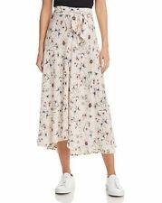 VELVET By Graham & Spencer Swan Waist Tie Floral Print Midi Skirt White $148 B6