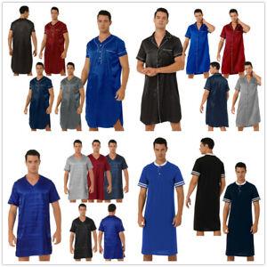 Men Satin SleepShirt Nightwear Short Sleeve Pajamas Sleepwear Comfy Loungewear