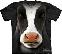 Big Face Black Cow T-Shirt by The Mountain. Giant Head Farm Animal S-5XL NEW