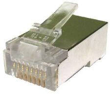 100x SHIELDED Cat5E RJ45 STP FTP Crimp Ends Connectors for Ethernet Cable GOLD