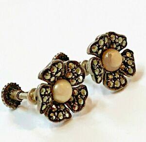 Early 20thC Vintage German 925 Silver Marcasite Flower Earrings 125mm Screw-back