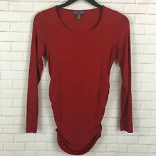 A Pea In The Pod Scoop Neck Side Ruched Knit Maternity Tee Size XS Red