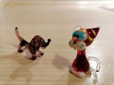 2x Glücksschweinchen Glas Swirl Look Glücksbringer 5 cm
