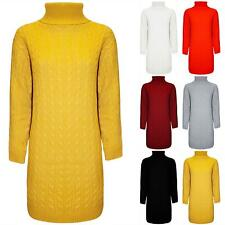 Womens Ladies Long Sleeve Chunky Cable Knit Turtle Polo High Neck Jumper Dress