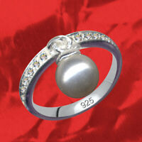 SILVER 925 Ring Art Nouveau Sterling Finger Rhinestone Zirconia Crystal & Pearl