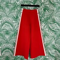 Veronica Beard Red Roland Cropped Wide Leg Pants Women's Size Small