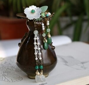 Oriental classic style handmade hairclip shell flower with agate