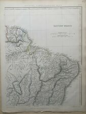 1848 NORTHEAST BRAZIL LARGE HAND COLOURED MAP BY J.W LOWRY 172 YEARS OLD