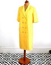 Vintage 80's Lemon Yellow Seashell Patterned Dress Retron 16
