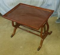 Antique Harp End Butler Table w/ Removable Glass Tray Top