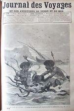 JOURNAL DES VOYAGES N° 664 de 1890 ILES OCEANIE ATTAQUE POULPE GEANT / STANLEY