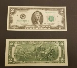 1 Uncirculated Crisp 2017 A Series $2 Note Two Dollar Bill In Protective Sleeve