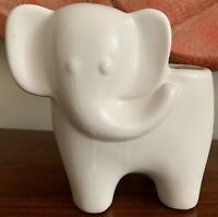 Fun Vintage White Ceramic Stoneware Pottery Elephant Planter Mid Century Modern