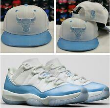 Matching Chicago Bulls snapback Hat For Jordan 11 LOW UNC Carolina Columbia Blue