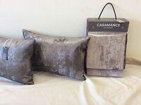 pkt 2 Designer Casamance Lido Crushed Velvet Cushions Metalic Front