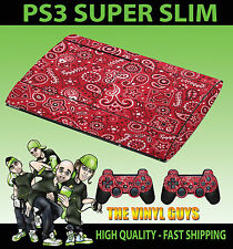 PLAYSTATION PS3 SUPER SLIM RED PAISLEY BANDANA DO RAG SKIN STICKER & 2 PAD SKINS