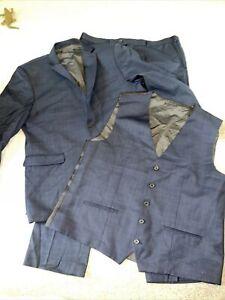 Next Navy Blue 3 Piece Suit Evening Wedding Event Smart Mens Slim Fit 46R 38R