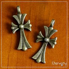 Ancient Bronze Symbol charms~Christian Cross PACK of 2~ Easter pendant crucifix