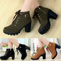 Women Zipper Side Buckle Martin Boots Ankle Boots Lace Up High Heels Shoes New