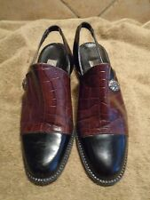 EUC Women's Brighton Brown and Black Leather Slingbacks Sz 6.5 M