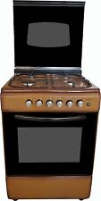Cucina a gas 60x60 MARRONE grill e accensione elett. coperchio vetro ACC. ELETTR