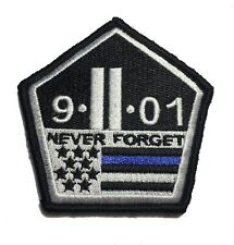 Thin Blue Line 9/11 NEVER FORGET PATCH Hook/loop Morale Twin Towers