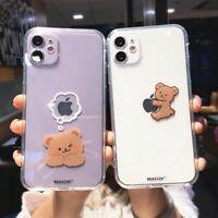Cute Creative Bear Phone Case Cartoon Clear Silicone Cover for iPhone 12 11 X XS