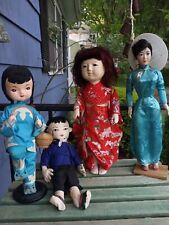 Vtg Oriental Porcelain and plush dolls