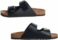 Men's Arizona Black 2-Strap Platform Sandals, Slid-on Cork Footbed Slippers