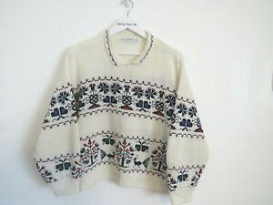 Vintage St Michael UK 16/18 Holiday Winter Sweater Jumper Retro Jumper Cream Pat