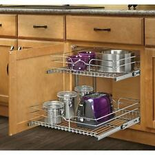 2 Tier Pull Out Wire Basket Kitchen Cabinet Pantry Organizer Rack Pots Pans Ware