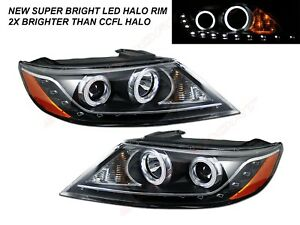 Set of Pair Black Halo Headlights w/ LED Parking light for 2011-2013 Kia Sorento