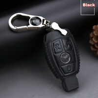 For Benz 3 buttons Genuine leather car key case holder cover remote fob Black